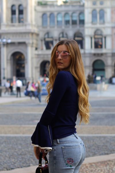 Basic look during Milan Fashion Week